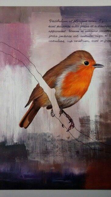 Wildlife art Robin painted with gouache and acrylic by Karolina Czerwinska