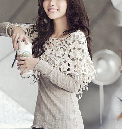 Women Summer Knit Crochet Mini Cotton Lace Poncho