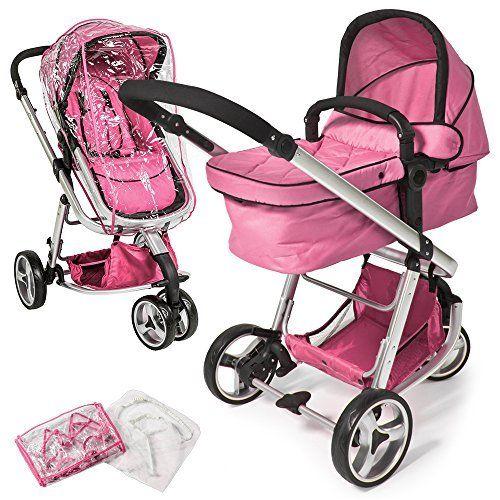 TecTake 3 en 1 poussette canne de voyage voiture d'enfants combinable poussette Baby Jogger voiture d'enfant sport pink habillage pluie moustiquaire | Your #1 Source for Baby Products