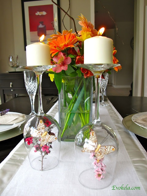 Wine glasses with flowers and butterflies underneath - cute for spring!