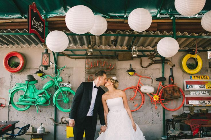 Lovely retro ruin pub wedding in Hungary.