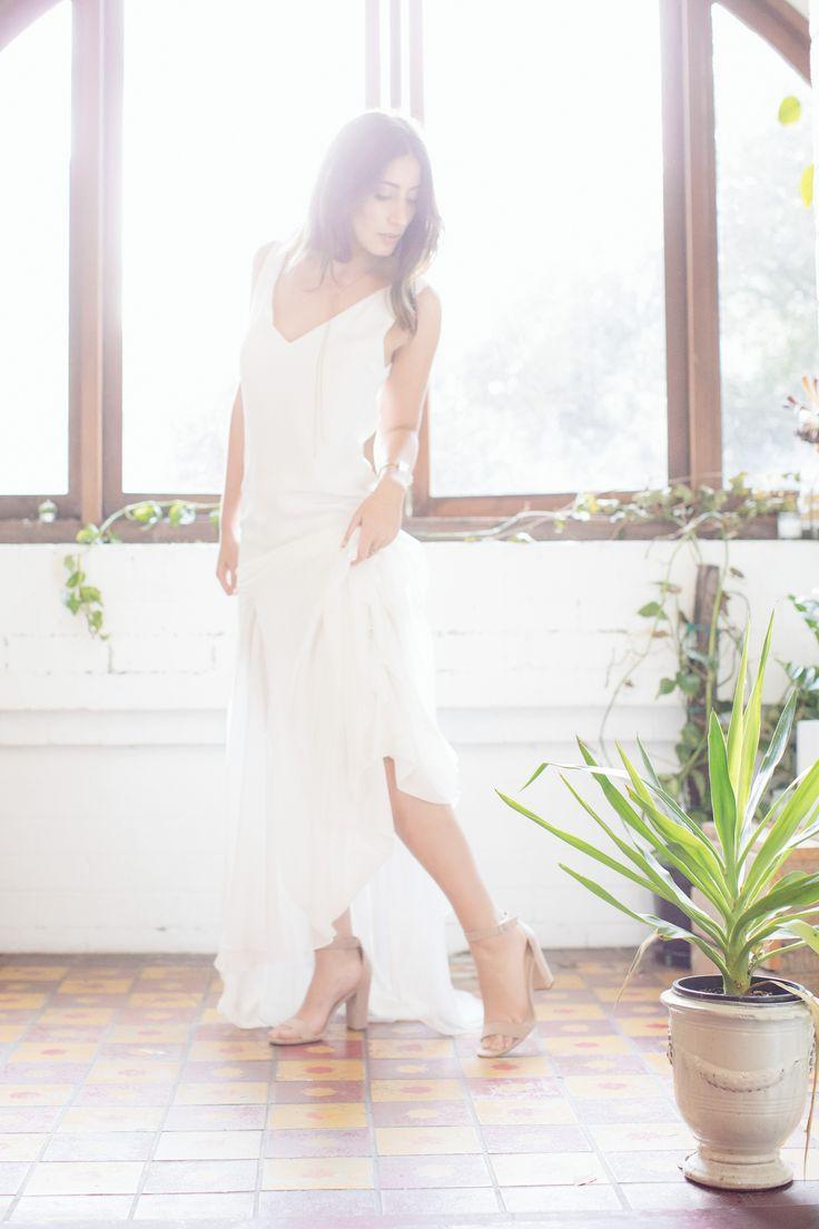 MALIBU GOWN Sheath wedding gown, sheer leg panels, minimal cami gown