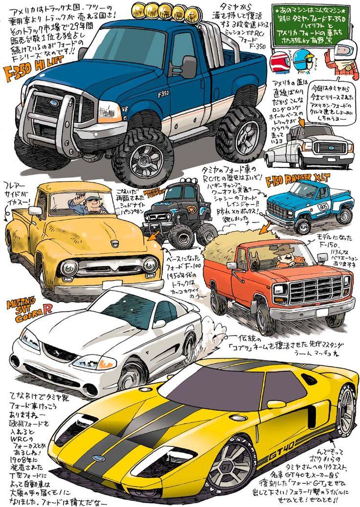 タミヤ・フォードF-350ハイリフトとアメリカ・フォードの車たち
