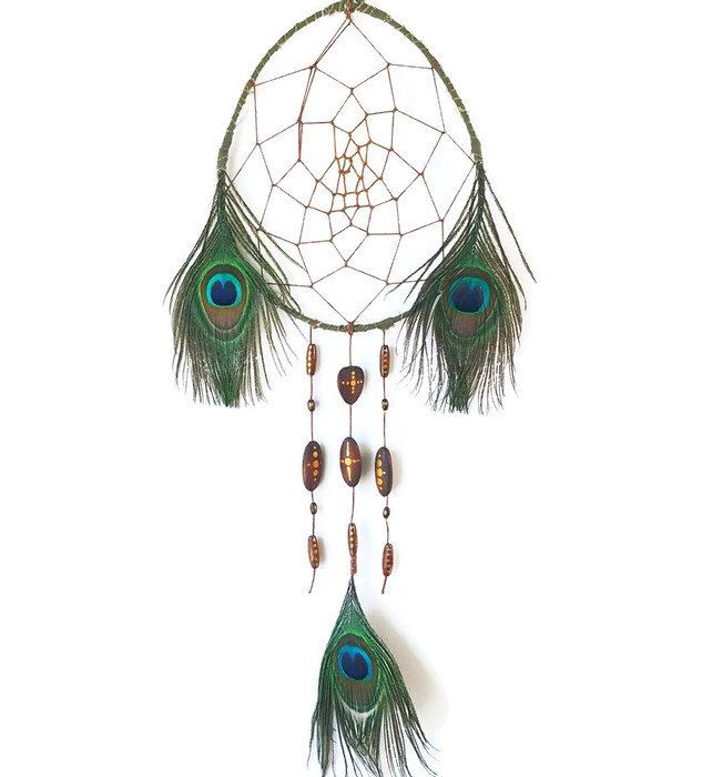 A personal favourite from my Etsy shop https://www.etsy.com/nz/listing/512342927/oval-dreamcatcher-peacock-dreamcatcher