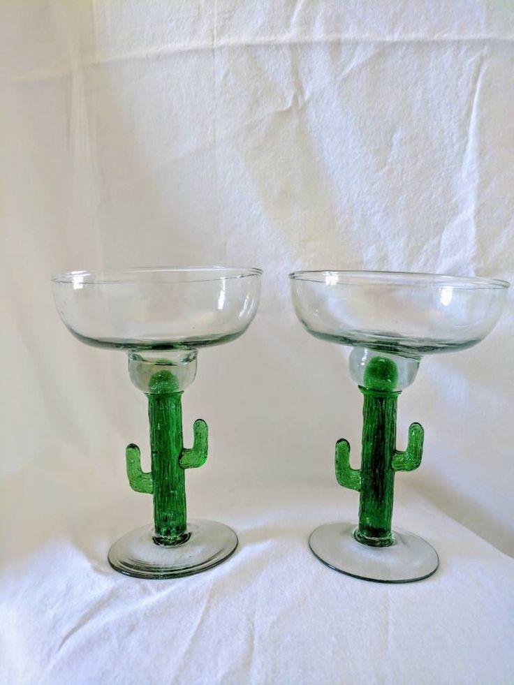 Vintage Margarita Glass- Barware- Green Cactus Stem- Cocktail -Marfa- Desert- Cinco de Mayo- Hostess Gift- Party- Southwestern- Set of 2 by CoralChameleon on Etsy https://www.etsy.com/listing/534356626/vintage-margarita-glass-barware-green