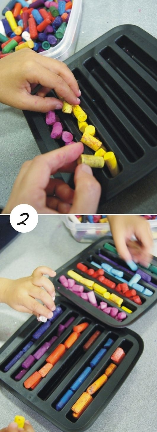 how to melt crayons to make new ones