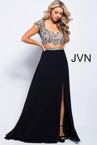 c2237c5d1647c6 JVN by Jovani 48486 two piece embellished cap sleeve flowy prom dress