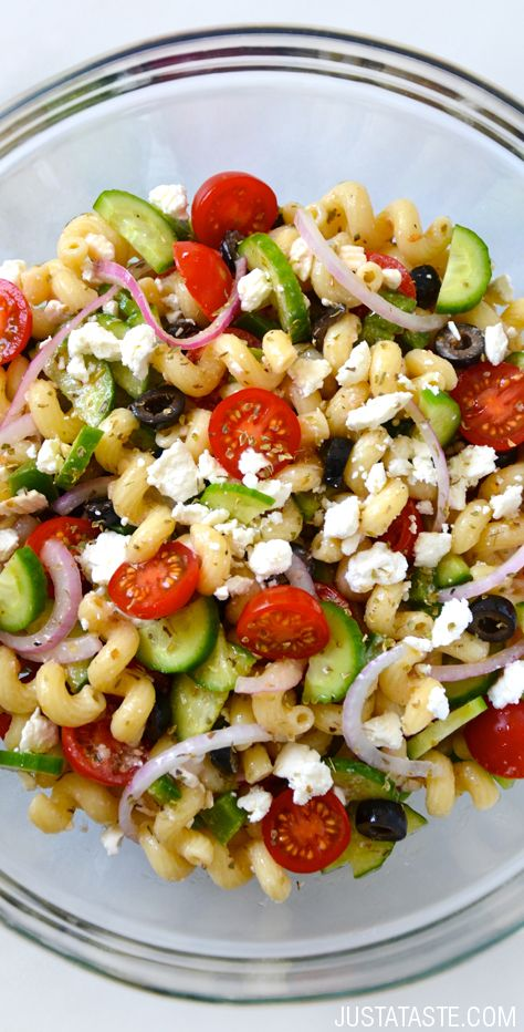 Greek Pasta Salad with Red Wine Vinaigrette #recipe on justataste.com