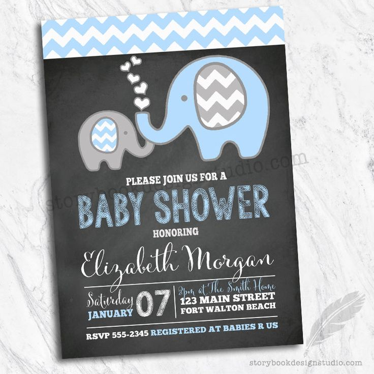 free printable camo baby shower invitations templates%0A Elephant Baby Shower Invitations   Chevron Blue Chalkboard Set of    Printed