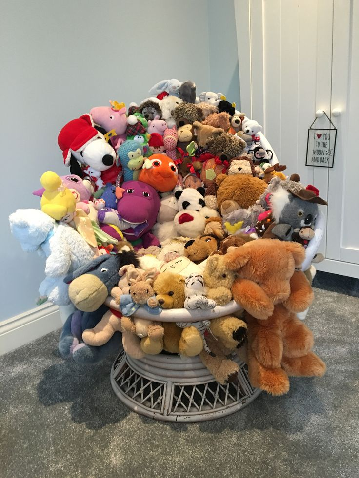 I Took An Old Wicker Chair And Stuffed All The Teddys In The Gaps. Soft