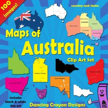 Clip art maps of Australia and individual Australian states. Color and black and white line art. Perfect for creating teaching resources. $