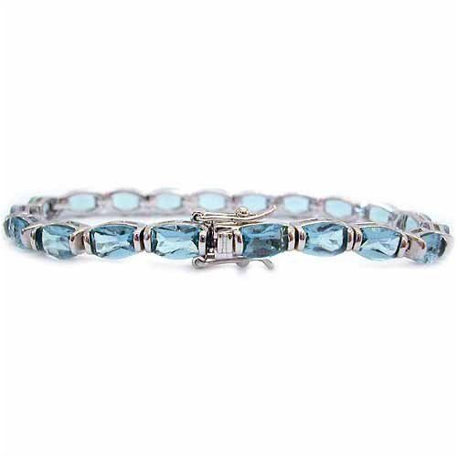 Sterling Silver Bracelet with Simulated Aquamarine CZ SilverSpeck.com. $39.99