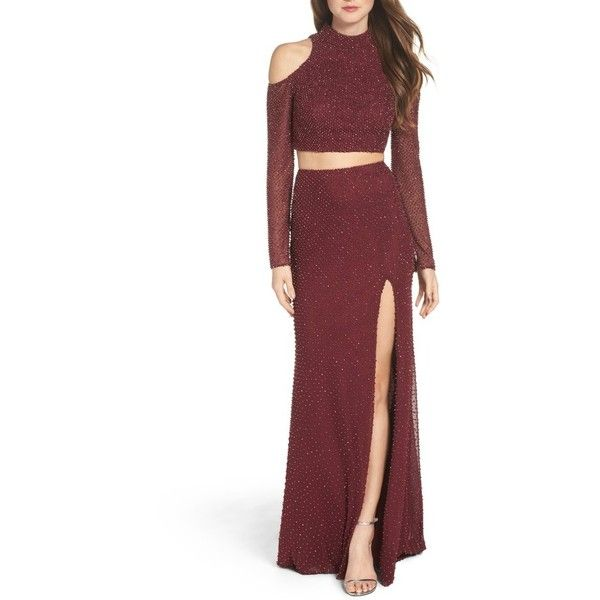 Women's La Femme Mesh Two-Piece Gown ($628) ❤ liked on Polyvore featuring dresses, gowns, garnet, red gown, red cocktail dress, red holiday dress, evening gowns and beaded gown
