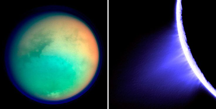 NASA's Next Horizon in Space - Left, a composite of four images of Titan captured by the Cassini spacecraft in October 2004; right, geyser-like eruptions of ice particles and water vapor from the south side of Enceladus. Credit NASA/JPL/Space Science Institute, via AFP/Getty Images; NASA, via Associated Press