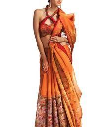 Buy Orange plain organza silk saree with blouse organza-saree online