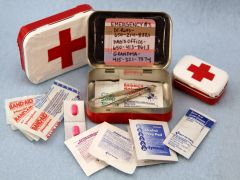 Altoid Tin First Aid Kit | Sophie's World Great for kids to have emergency numbers to parents too.