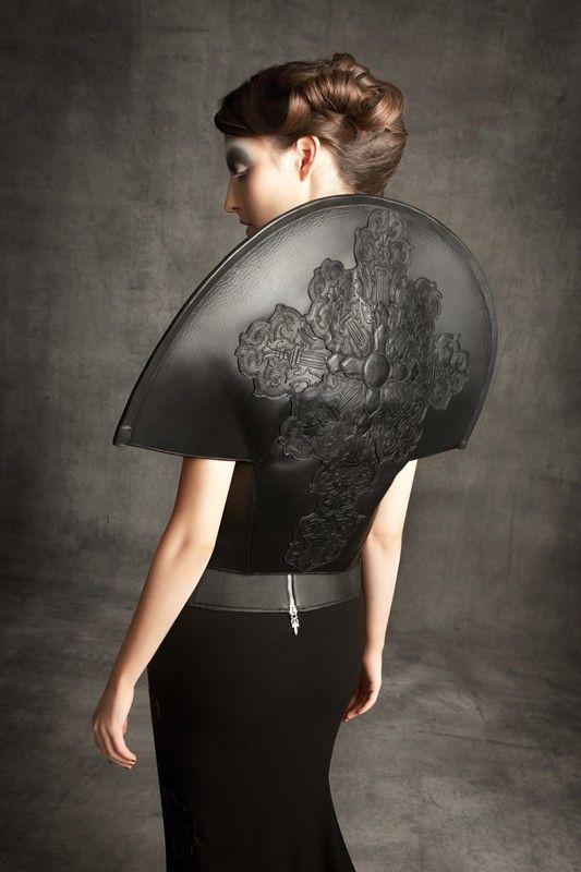 Gareth Pugh x Chrome Hearts Sculptural Fashion with elegant circular silhouette; wearable art