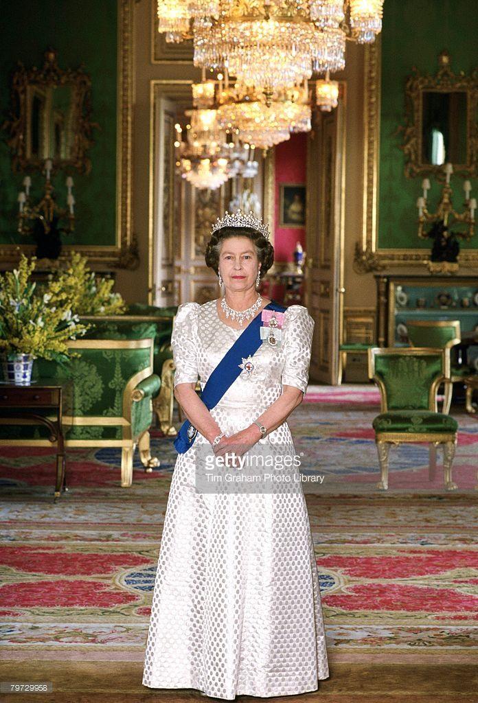 Queen Elizabeth Ii In The Green Room At Home In Windsor