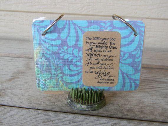 Custom Index Card Holder Binder 3x5 4x6 Christian Bible verse Scripture study memorize BLUE SWIRL