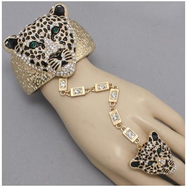 Bracelets with ring   Accessories: Crystal Leopard Ring /Bracelet - soulfulbeauty.com ...