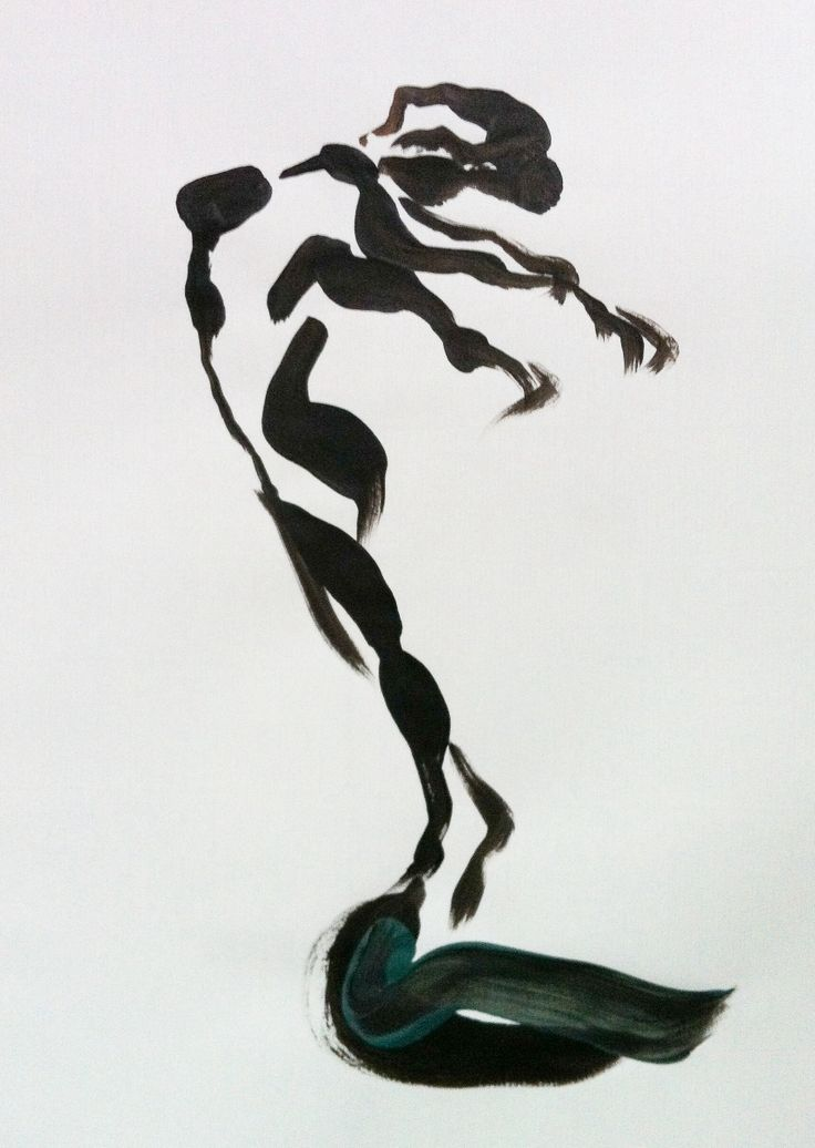 Schets in acryl Danseres strekt