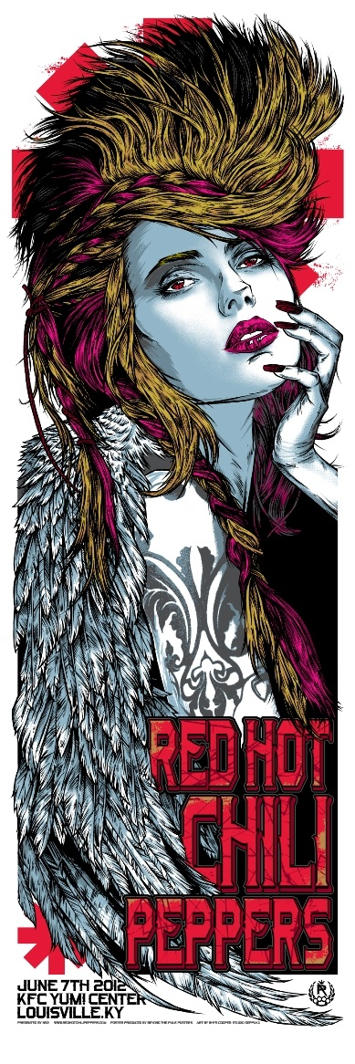 RED HOT CHILI PEPPERS Louisville KY USA 2012 Rhys Cooper Screenprint Poster