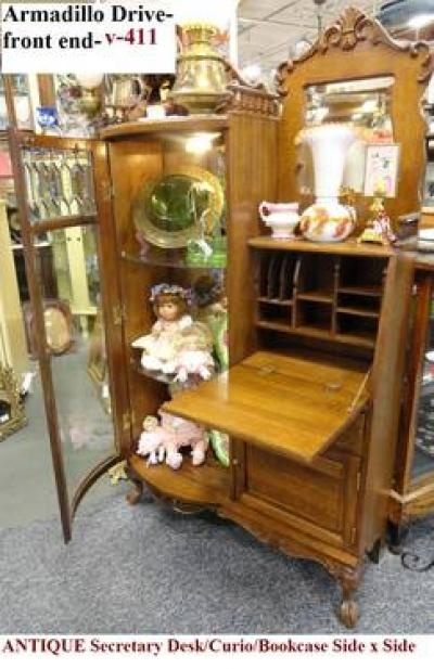 Real Wood Furniture Antique Rustic Secretary Desks China Cabinet Decor Room Teddy Bears Victorian Era Buffets