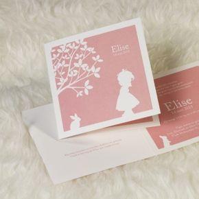 Schattig retro kaartje voor meisje #geboorte #babyborrel