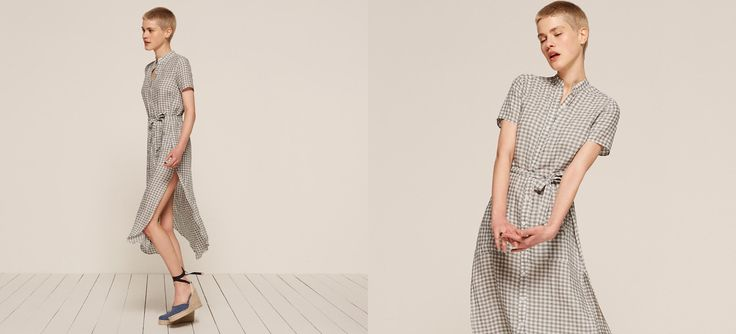 Get some air - breezy new linens are here. This is a button front, ankle length dress with a belted waist and rounded hem.