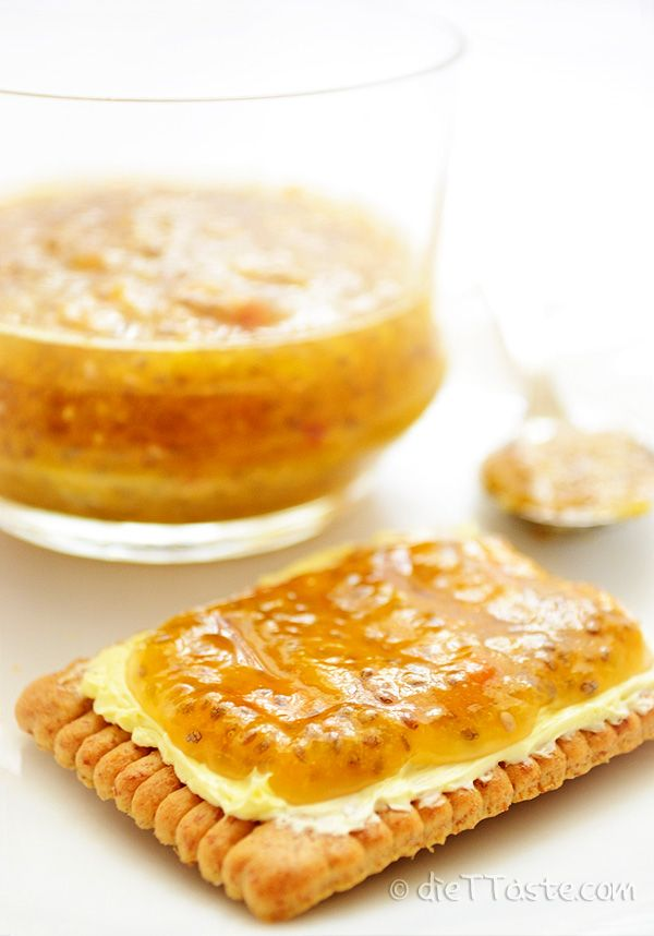 Peach Chia Jam - raw and healthy fruit spread. Preserves all the good ingredients of fruit and chia seeds. No added sugar.