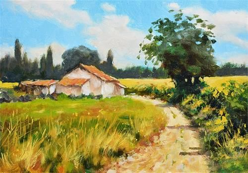 """Daily Paintworks - """"Ugly farm house, French countryside scene."""" - Original Fine Art for Sale - © Nick Sarazan"""