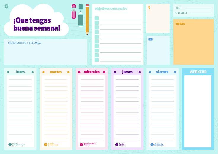 ¡Domingo! Ya podéis descargar este #organizador #semanal y llenar las semanas de buen rollo Descárgalo #gratis en http://aleteoscreativos.lllu.es/?p=105