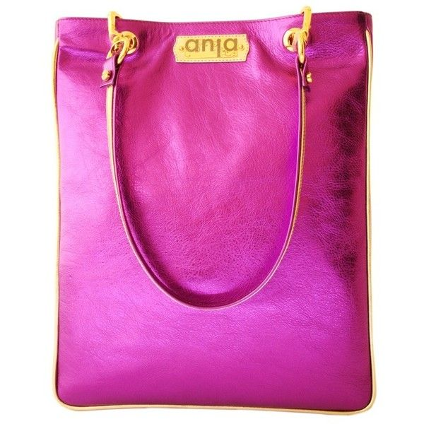 Anja Metallic Purple Leather Tote (660 BAM) ❤ liked on Polyvore featuring bags, handbags, tote bags, runway2street, purple, purple tote bags, leather purses, leather tote, pink tote and leather tote bags