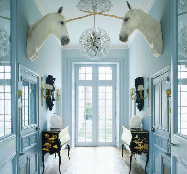 Not a fan of taxidermy, but how ridiculously awesome is this hallway at le chateau de la goujeonnerie?: Dreams Home, Idea, Favorite Places, Hallways, Unicorns Head, Interiors Design, Dreams House, World Of Interiors, Chateau De