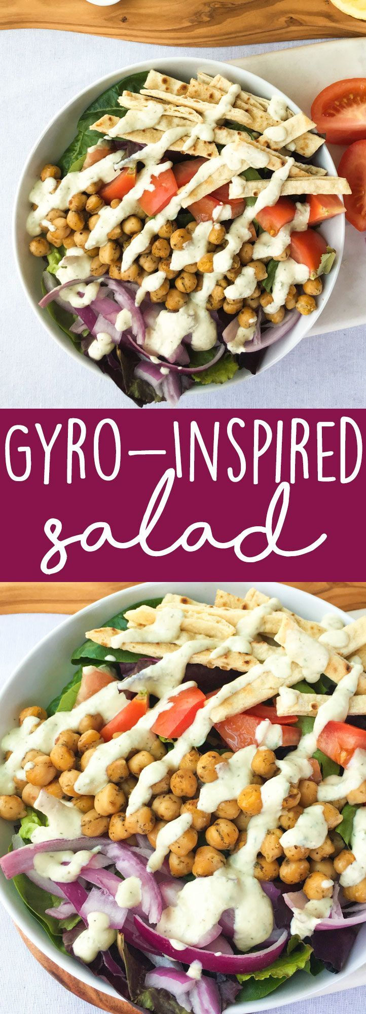 Vegan Gyro Salad Recipe: This veggie-packed gyro-inspired salad is topped with greek-spiced chickpeas, crispy baked flatbread strips for crunch, and a creamy vegan tzatziki sauce. What more could you ask for from a healthy salad recipe?!