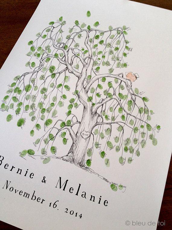 Fingerprint Tree Wedding Guest Book Alternative, Original Hand-drawn Large Willow Design (ink pads sold separately)