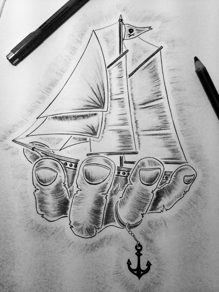 bateau boat hand main pirate tatouage tattoo bateaux pinterest boats pirates and. Black Bedroom Furniture Sets. Home Design Ideas