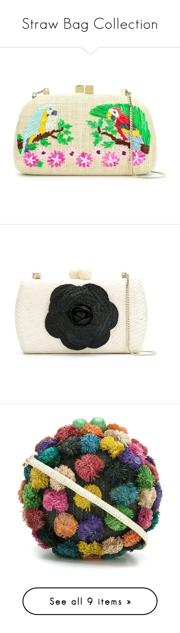 """""""Straw Bag Collection"""" by modalist ❤ liked on Polyvore featuring bags, handbags, clutches, straw clutches, embroidered purse, straw purse, beige clutches, straw handbags, black white handbag and black and white purse"""