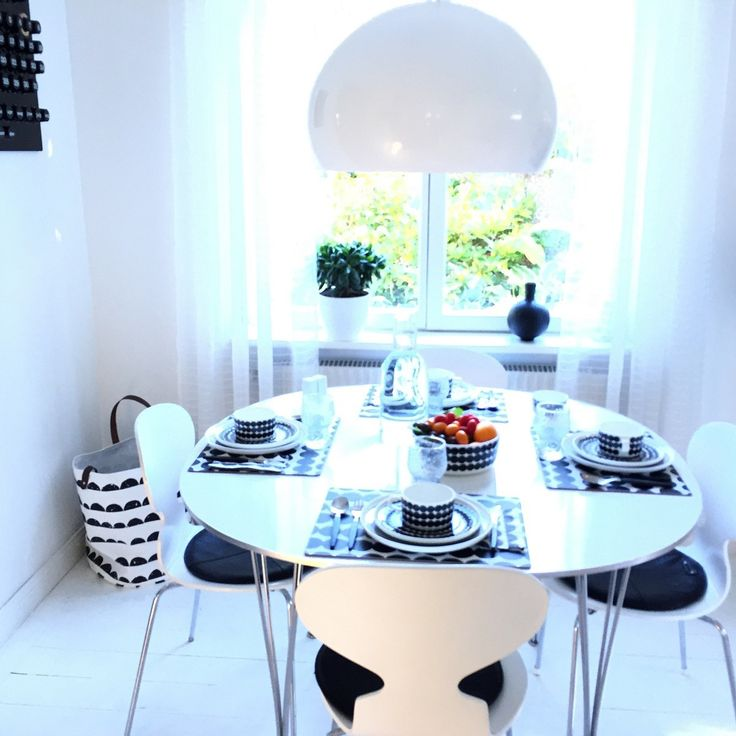 Ant chairs with Marimekko tableware