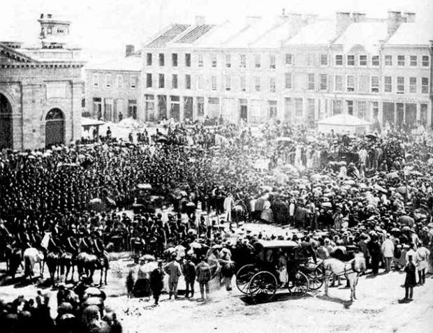 Canada Day 1867: Reading the Proclamation of Confederation in Kingston, Ontario on July 1, 1867. Source: Queen's University Archives