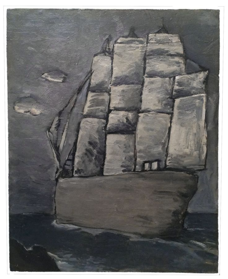 ca 1950, Horacio Torres: barco fantasma (The Phantom Ship). Oil on artist board, 24 x 19 in. 60 x 48 cm. Cecilia De Torres Ltd.