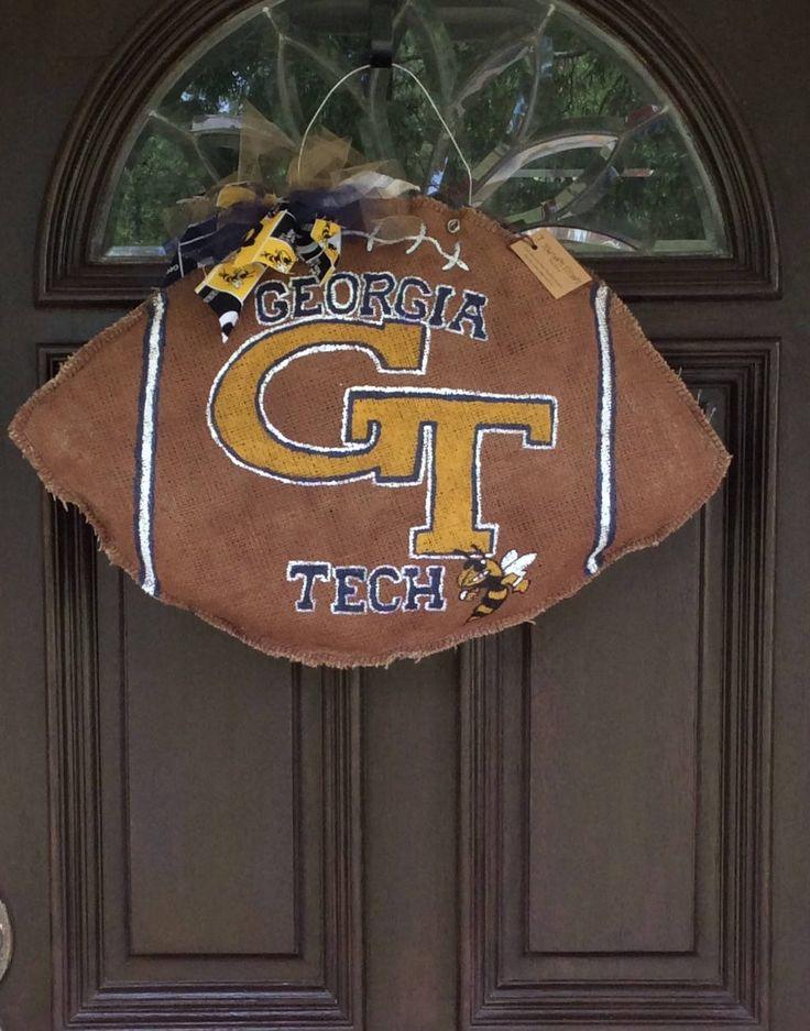 Georgia Tech Burlap Team Spirit Football Wreath!!!!!!!!! by 7SouthernSisters on Etsy