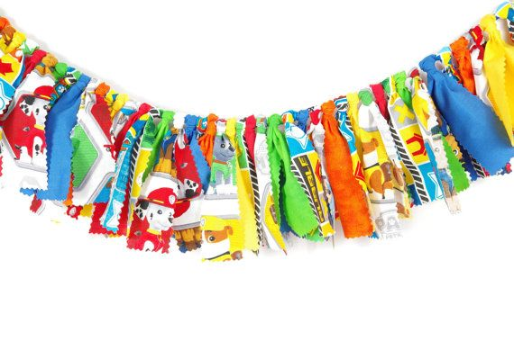Paw Patrol Birthday - Highchair Banner - Party Banner- Little Boy's Birthday…