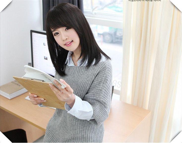 Medium Length Black Wig  Long Straight  Wig Synthetic Sweety Style Best Gift For Girl  Medium Length Black Wig