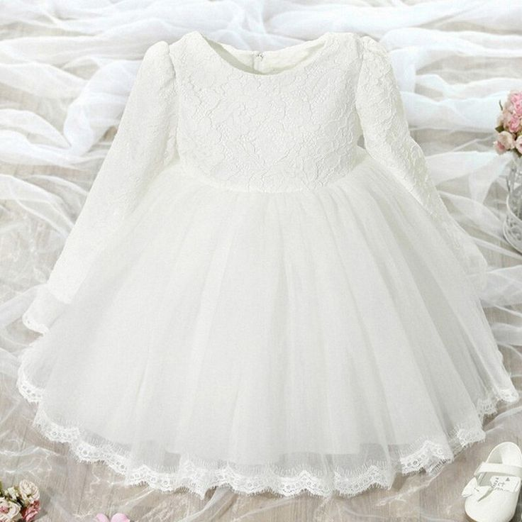 Little Girls Special Occasion Dress How sweet your little girl will look in this lace and tulle princess dress. She will look like the angel she is with lace and bows. This dress would be perfect as a
