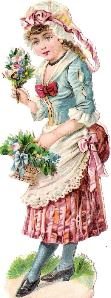 Oblaten Glanzbild scrap die cut chromo Kind child 13,8 cm Lady Dame Korb basket