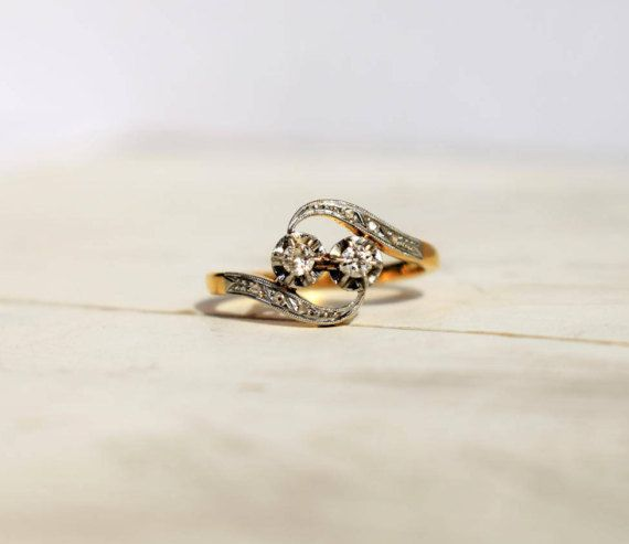 vintage art nouveau toi et moi diamond ring 1920s engagement - 1920s Wedding Rings