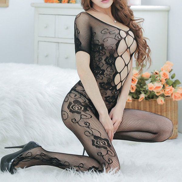 Sexy Erotic Rose Jacquard Backless Cross Front Short Sleeved Bodystocking