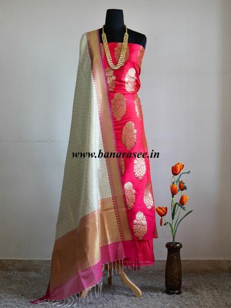 Banarasee/Banarasi Salwar Kameez Semi Katan Silk Zari Buta Work Fabric With Contrast Dupatta-Fuchsia