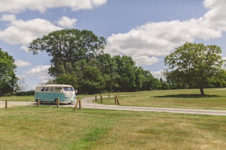 Here comes the bride! Photo by Benjamin Stuart Photography #weddingphotography #campervan #vw #weddingcar